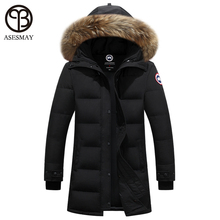 Asesmay 2016 duck down jacket men luxury brand winter parka designer thickening long coats hooded raccoon fur casual goose men(China (Mainland))