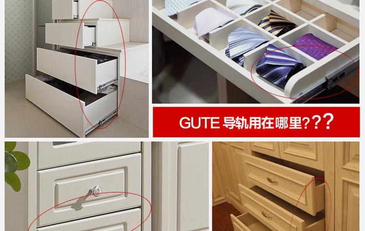 Ultra-quiet drawer track three rail drawer slide ball bearing slide rails thick 2<br><br>Aliexpress