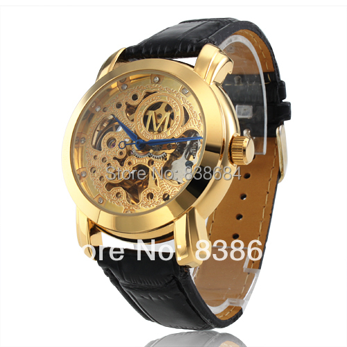 Men's Watch Automatic Mechanical Black Leather Band Wrist Golden Hollow Engraving Dial - Mi&Watch store
