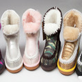Women Winter Sheepskin Wool one Snow Fur Boots Ankle Snow Boot Genuine Leather Natural Wool Inside