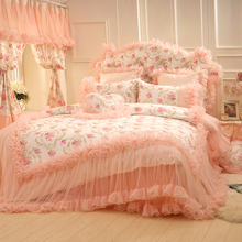 Rustic princess lace ruffled bedding set,girl full queen elegant fairyfair double home textile bedspread pillow case duvet cover(China (Mainland))