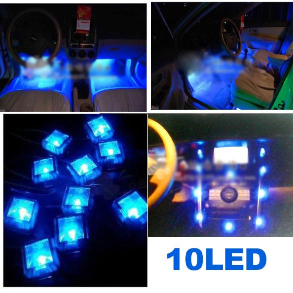 New 12V Car Interior 10 LED Decoration Foot Well Neon Flash Lights Lamp(China (Mainland))