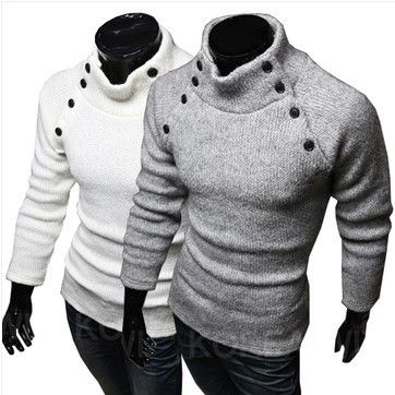 Hot Sale Men's Korea Fashion Casual Long Regular Sleeve Knitted Turtleneck men sweater Button Pullovers sweater Novelty Novelty(China (Mainland))