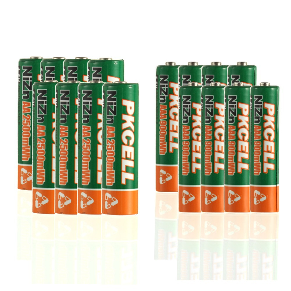 PKCELL NI-ZN 1.6V 2500MWH AA Rechargeable Battery 900MWH AAA Batteries Total 16Pcs Attached 2 Battery Box<br><br>Aliexpress