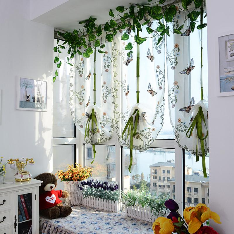 Butterfly Pattern Door Roman Window Scarf Sheer Floral Curtain Drape Panel Voile Blinds Shutters(China (Mainland))