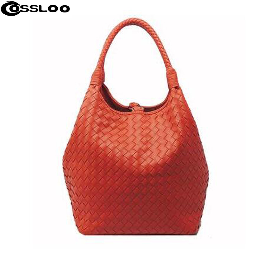 Women woven bag vintage Ladies handbags travel sheepskin cute tote bags PU leather Shoulder bag Fantastic(China (Mainland))