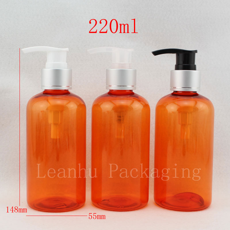 220ml X 20 orange color lotion container with aluminum dispenser pump shampoo ,empty refillable cosmetics bottles containers(China (Mainland))