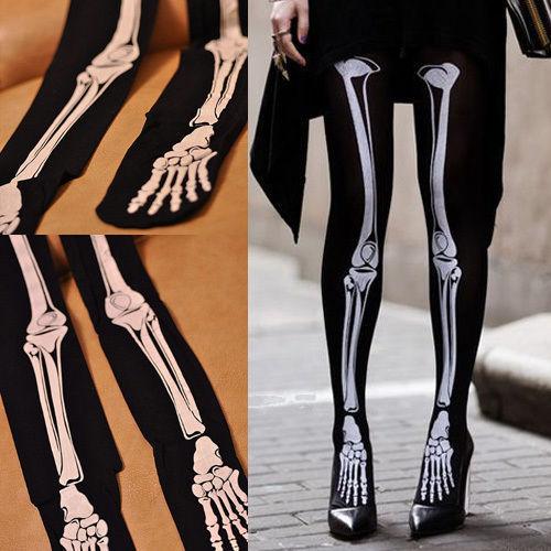 Womens Ladies Sexy Skull Skeleton Tattoo Pantyhose Tights(China (Mainland))