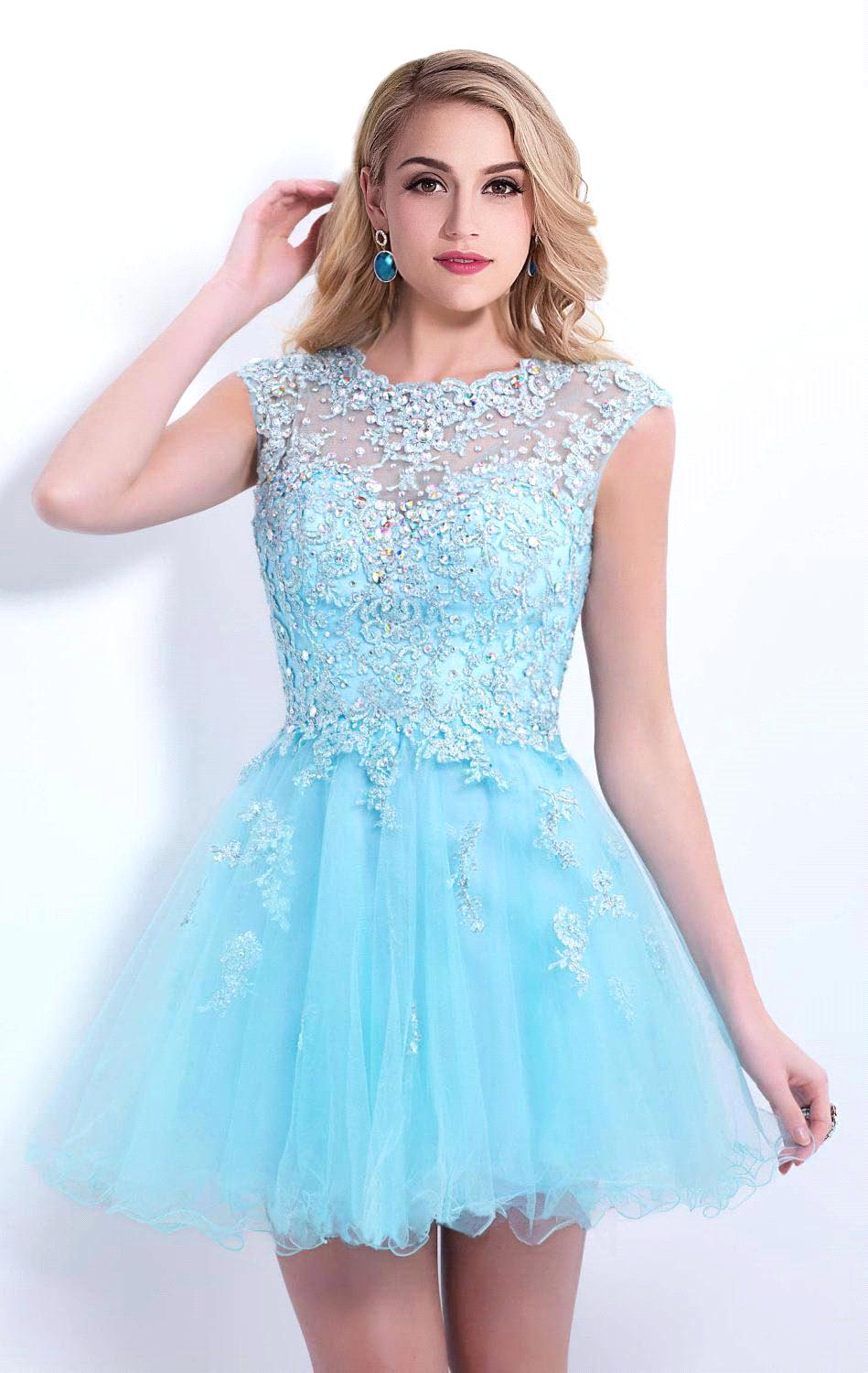 Online Get Cheap Short Light Blue Homecoming Dresses ...