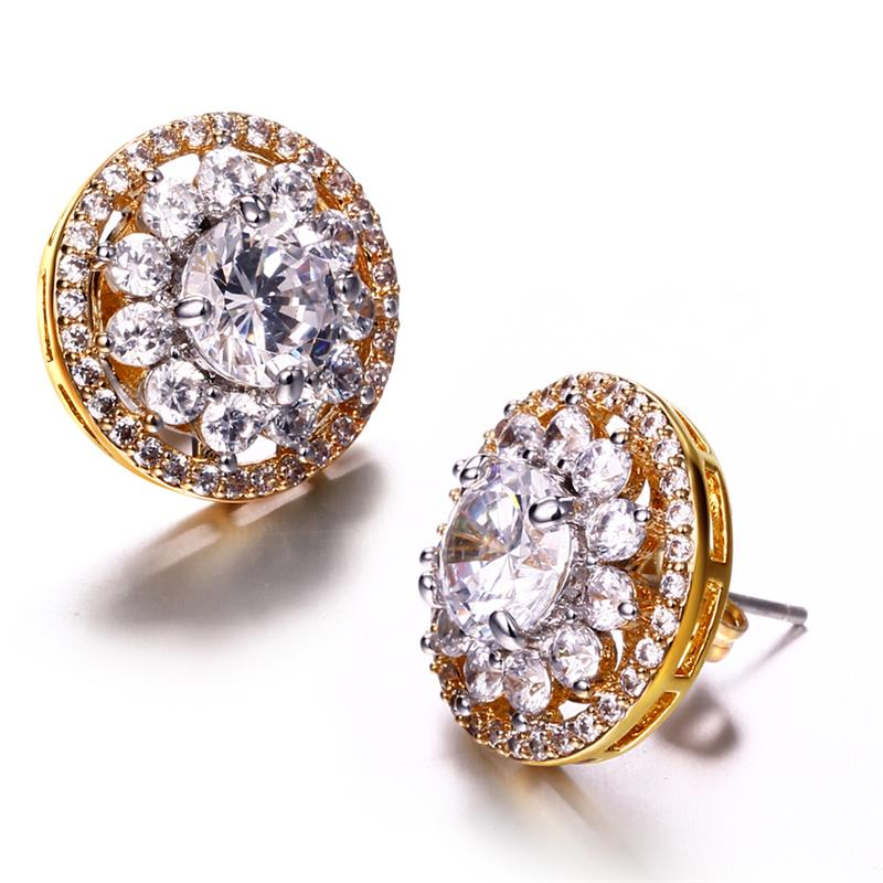 Love Deluxe Earrings-Fashion Earrings Women Sweet New Small Stud Earrings Circle 18k Gold Plated 2 Tones Zirconia Free Shipping(China (Mainland))