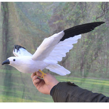 new simulation flying Seagull toy plastic&fur black wings bird gift about 60x32cm