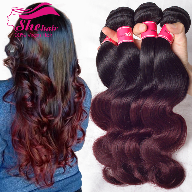 6A Two Tone T1b/ 99j# Ombre human Hair 4 Bundles Peruvian virgin hair Body Wave, wet queen Hair Products ombre hair extensions<br><br>Aliexpress
