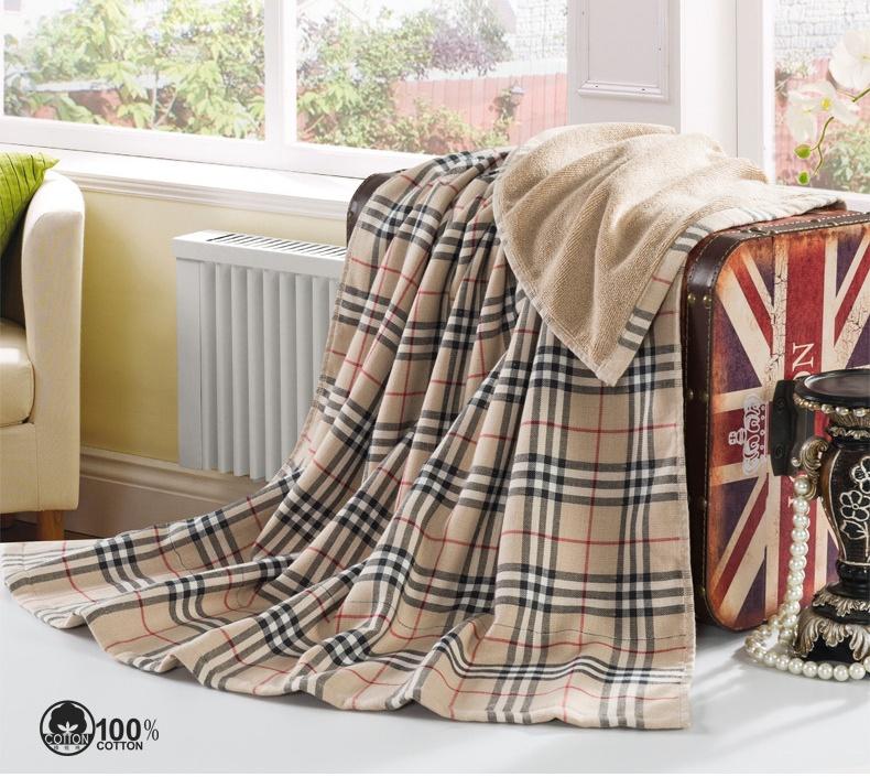 Elegant checkerwork Bath Towel England style super large 80*150cm double layer baby blanket(China (Mainland))