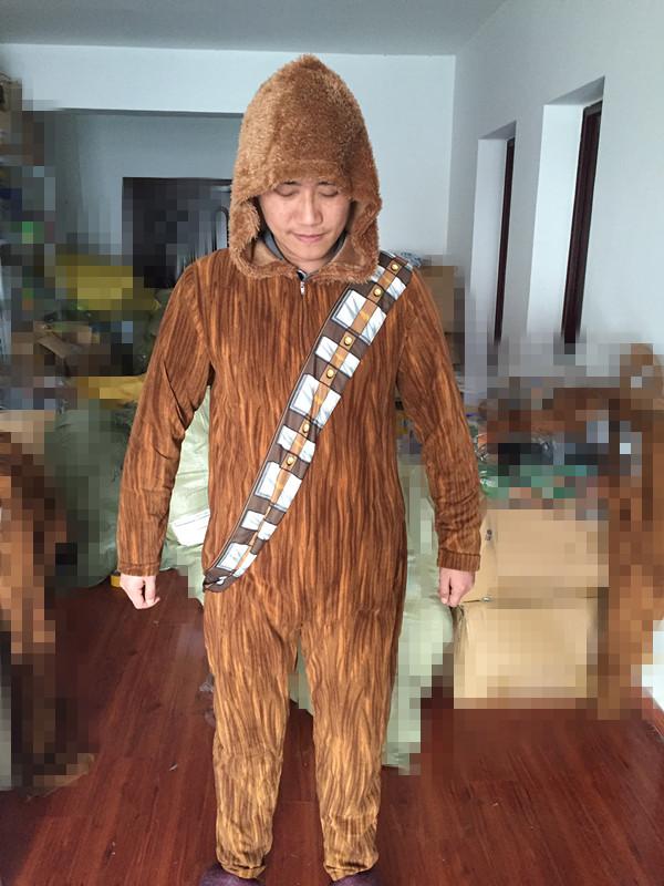 Unisex Flannel AdultStar Wars Am Chewie Chewbacca Furry Costume Hoodie Pajamas Pyjamas Women Onesie Animal Onesies Sleepwear - ANHUI RUIQIQIAN TRADE CO,. LTD store