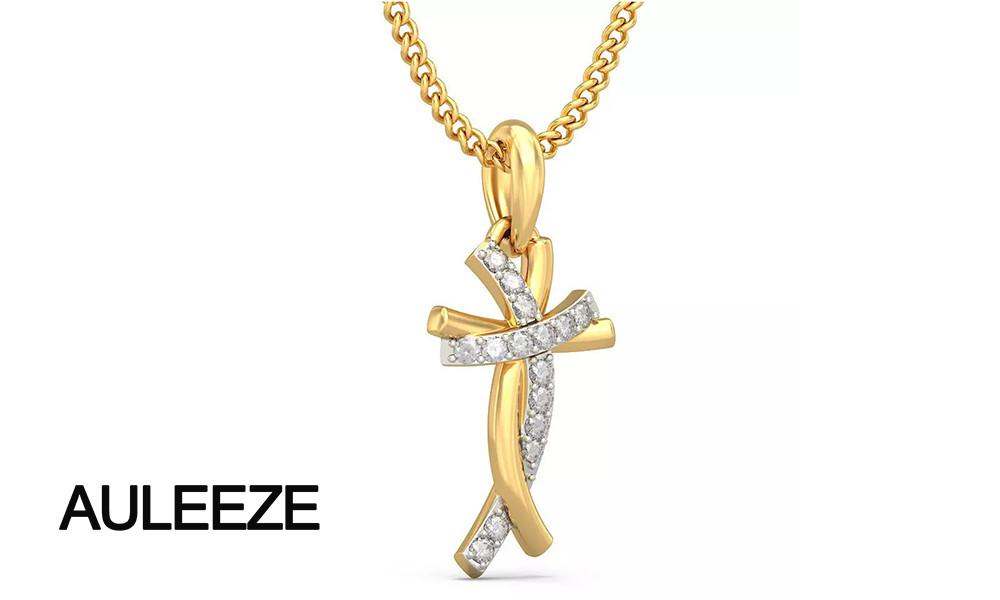 HTB1 N2iLpXXXXXSXFXXq6xXFXXX7 - Classic Style Humanoid Cross Pendants 14K Yellow Gold Natural Real Diamond Jewelry Necklace Pendants Engagement Wedding Jewelry