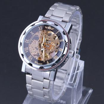 WINNER Men full steel Skeleton watches Mechanical Auto Hand Wind analog round wristwatches