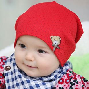 Free Shipping Bear Shaped Baby Hats Infant Cap Boys & Grils Beanie Hat Cotton Caps Kids skullies for 3-18 months(China (Mainland))