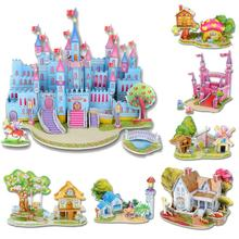 Hot Selling Fashion Puzzles Cartoon Kids Educational Mosaic Toys DIY boy girls 3D Jigsaw Puzzle For Children Adults House Castle(China (Mainland))