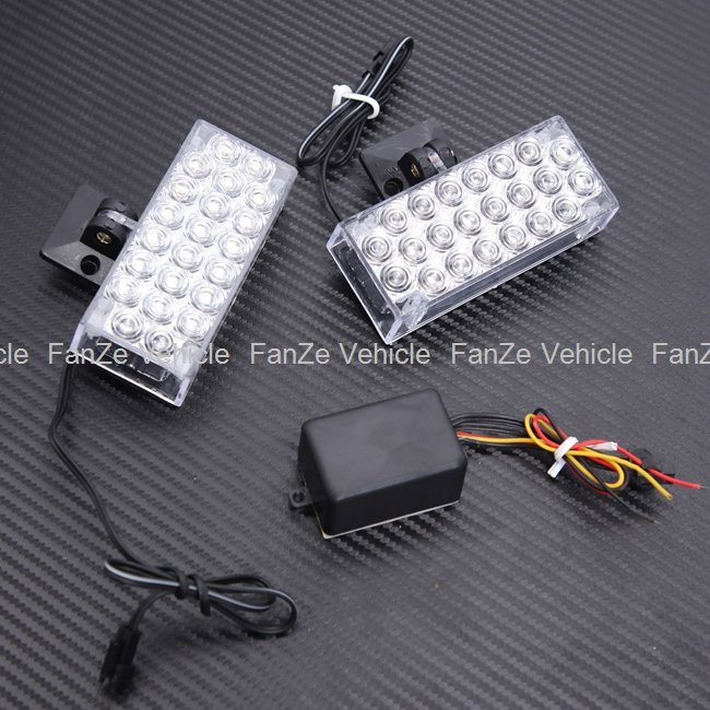 Free Shipping new 2X 22 LED Blue Motorcycle Red Car Van Truck Boat Strobe Flash Lights Grill Emergency lamp 12V(China (Mainland))