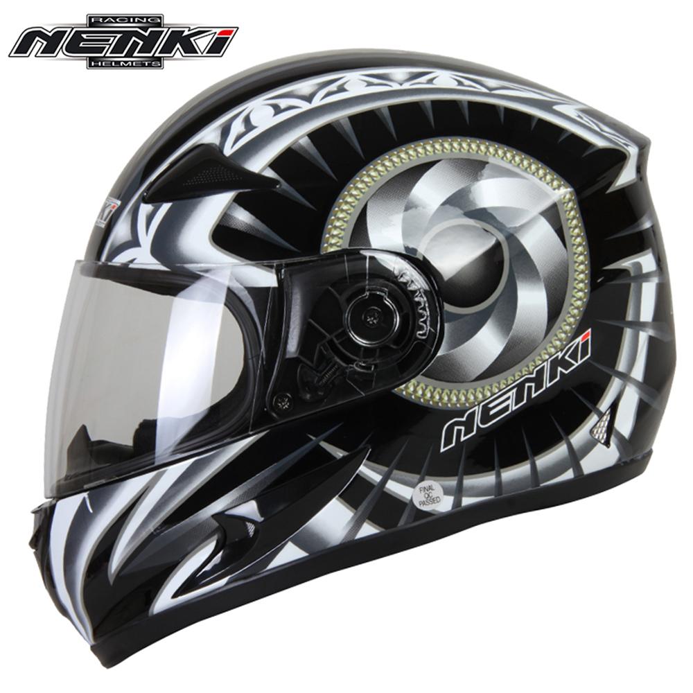 NENKI Black Motorcycle full face retro scooter helmets Motorbike Riding Racing Helmet DOT Clear Lens Shield(China (Mainland))