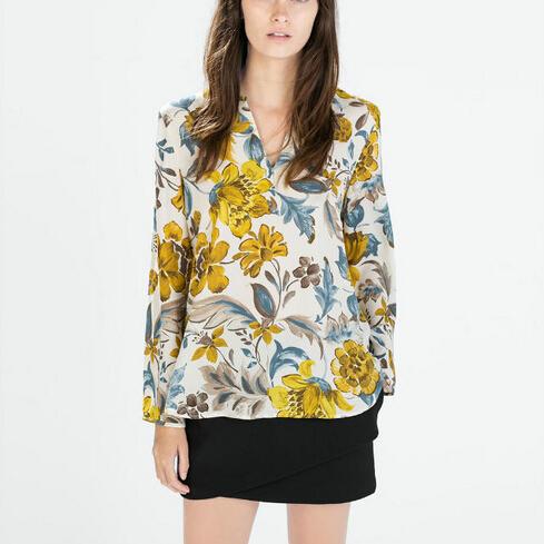 Women Yellow Floral Chiffon Blouses Vintage V Neck Long