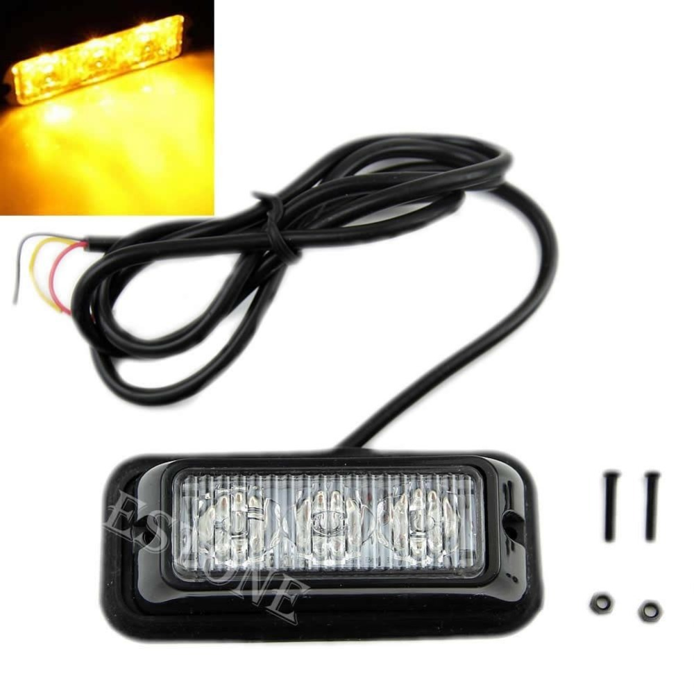 Free shipping 3W High Power 3 LED Waterproof Car Truck Emergency Strobe Flash Light Amber(China (Mainland))