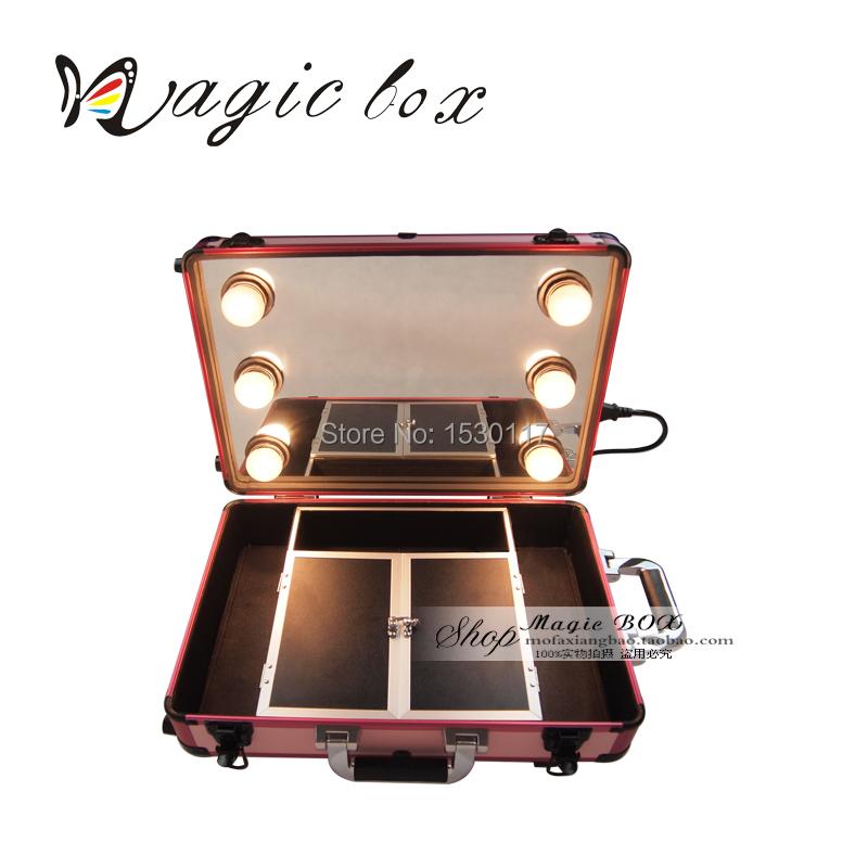 rio pink vanity makeup case box with lightirror makeup vidalondon. Black Bedroom Furniture Sets. Home Design Ideas