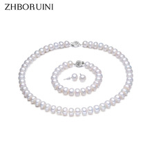 ZHBORUINI Pearl Jewelry Sets 100% Natural Freshwater 925 Sterling Silver Jewelry Pearl Necklace Earrings Bracelet For Women Gift(China (Mainland))