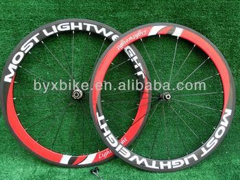 wholesale-MOST LIGHTWEIGHT  50mm carbon wheelset clincher/ tubular+novatec hub+spokes+skewer