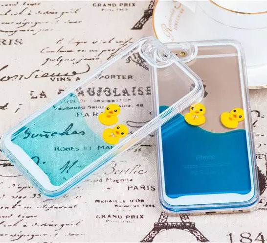 Flowing Liquid Swimming Yellow Duck Transparent Cover Case for iPhone 6 / 6 Plus 6+ 5S 5 Samsung Galaxy S6 S5 S4 Note 4 3