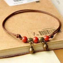 Ceramiczne koraliki bransoletki splot Rope Chain srebrny brąz urocza zawieszka mankiet bransoletki regulowane opaski kobiety biżuteria etniczna Anklet(China)