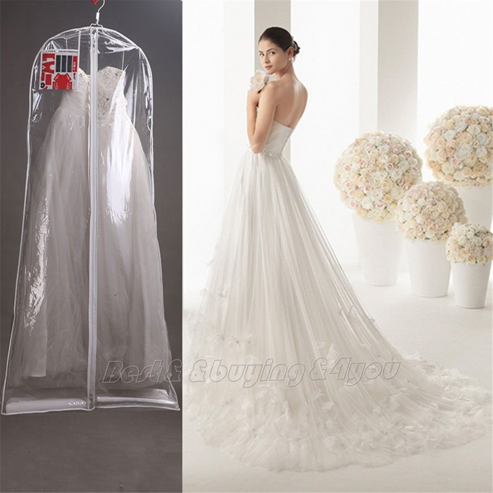 1x Clear Wedding Dress Cover Storage Bags Dustproof Large Bridal Gown Garment 160 170 180CM Free
