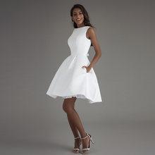 Короткое свадебное платье 2020 пляжные белые платья с открытой спиной vestido de noiva горячая Распродажа vestido De Novia Плайя свадебное платье(China)