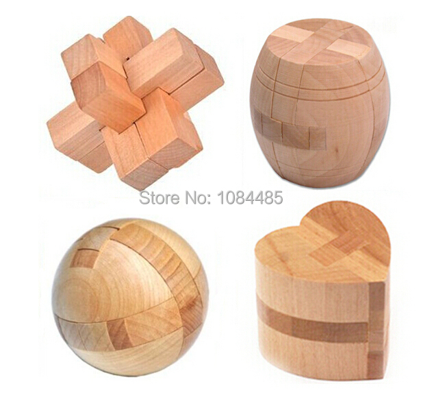 4PCS/Lot Classic IQ Mind Wooden Brain Teaser Interlocking Burr Puzzles Game for Adults and Kids(China (Mainland))