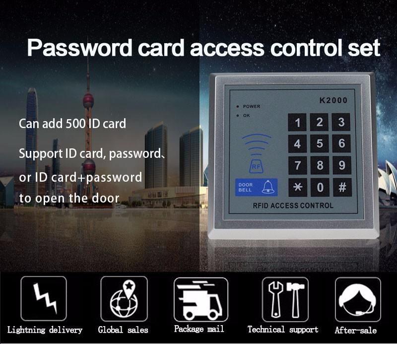 Free Shipping Complete Access Control Door Lock System Kit Set with Electric Bolt Lock+Keypad+Power+Remote+Door bell+Exit+Keys