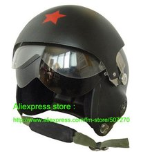 Chinese Air Force Glass Fiber Jet Pilot Open Face Motorcycle Bicycle Matt Black Helmet , Safety Casco , Motor Helm Adults M L XL