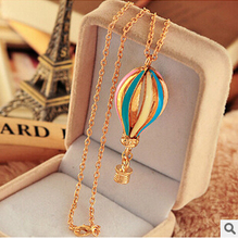 Free Shipping New Fashion Korean Jewelry Exquisite Candy Colorful Hot Air Balloon Sweater Chain Pendant Necklace N126