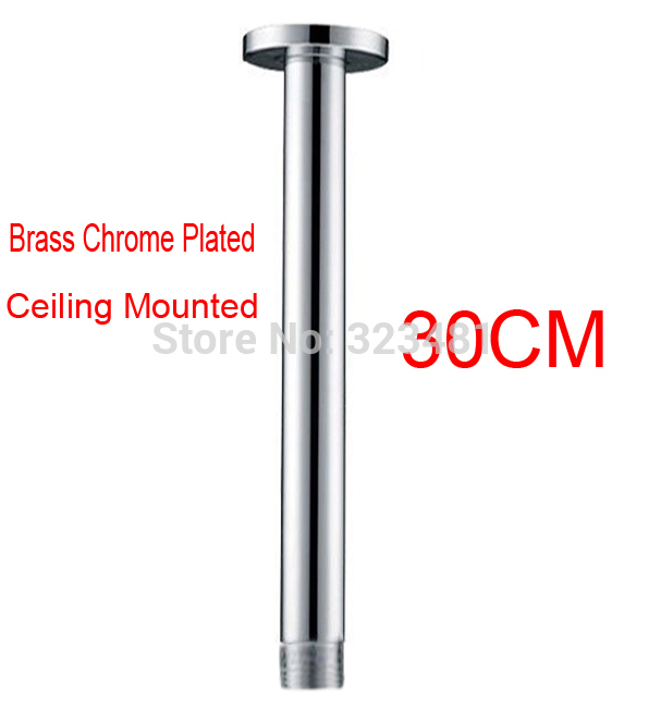 30cm Brass Shower Arm Ceiling Mounted Round Chrome Plated Shower Head Arm Rod In Bathroom Accessoriess free shipping(China (Mainland))