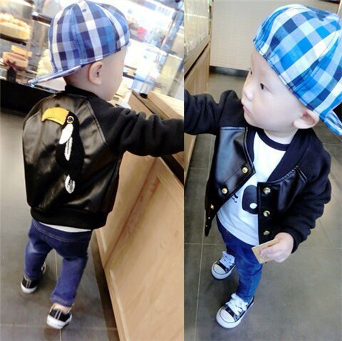 Retail New 2015 Baby Boys fashion PU Coat Jacket Children Spring Autumn Outerwear Cardigan Jacket And big bird Coat For girls<br><br>Aliexpress