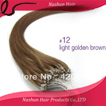 "Indian Remy Micro Ring Human Hair Extensions 10""-28"" #12 0.5g/strand 100s/pack micro ring-loop hair"