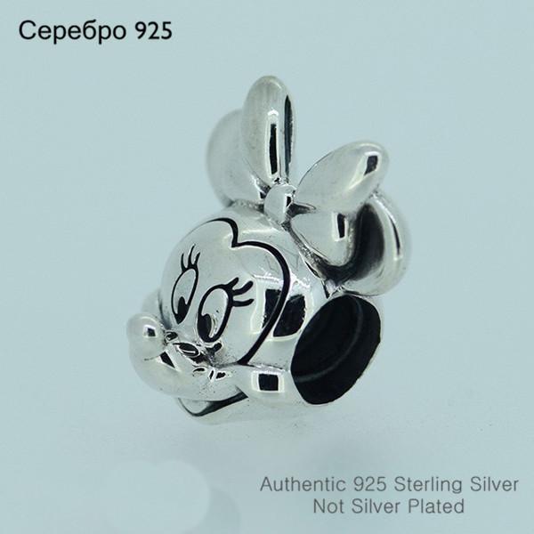 Милый мыши бусины чистый 925-Sterling-Silver подходит пандора браслет DIY женщины ювелирных изделий