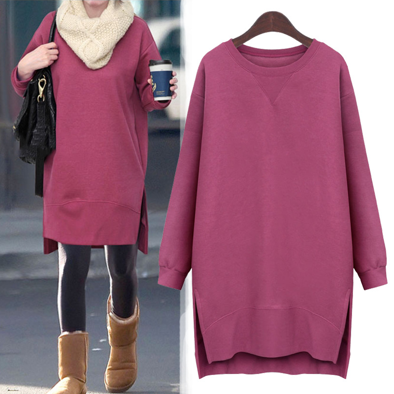 Maternity Clothes Sweatshirts Thicken Winter Dress for Pregnant Plus Size A-Line Long hoodies for women Europe and American 3XL