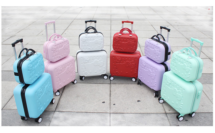 Wholesale!Girls cute 14 16 abs hello kitty travel luggage sets,high quality female lovely travel luggage suitcase on wheels(China (Mainland))