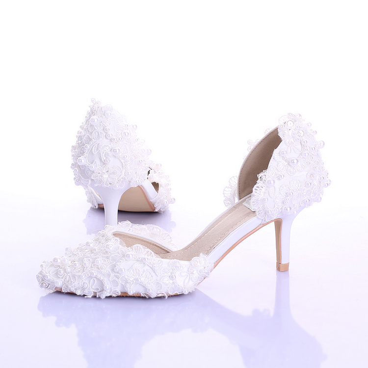 New White Pearl Lace Bridal Shoes Thin Heels Pointed Toe Wedding Evening Party Stage Show Women Shoes Fashion Princess Pumps