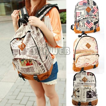New Fashion Unisex Newspaper Design Print Canvas + Lint Backpack Schoolbag Shoulder Bag dropshipping 29