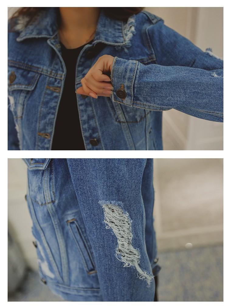 2016 Women Long Sleeve Coat Slim Denim Short Casual Jean Jacket Outerwear Cultivate one's morality fashion