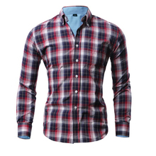 Men Shirt Plaid Long Sleeve Plus Size 5XL Dress Man 2015 Fashion Brand Shirt Slim Hawaiian Camisa Masculina Social Shirts FHY300