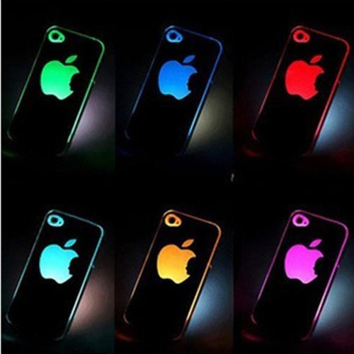 10PCS/lot Colorful Change logo Battery Sense Flash LED light Cover Case for Apple iPhone 4 4S 4G Styles New free Shipping