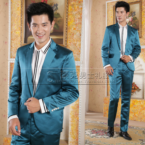 2015 new men's casual dress and groom dress suit tuxedo suit mens groom wedding tuxedo suits blue tuxedo (jacket + pants)
