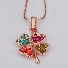 Free shipping Fashion jewlery Wholesale 18K Gold Plating Crystal Colour Lucky Clover Pendants Necklace Accessories N115